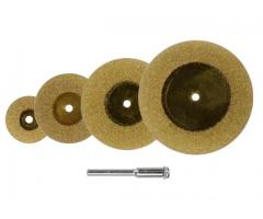 Mini Disco de Corte Diamantado para Dremel, Micro Retifica Microrretífica Haste 3 mm - Kit com 5 Pçs