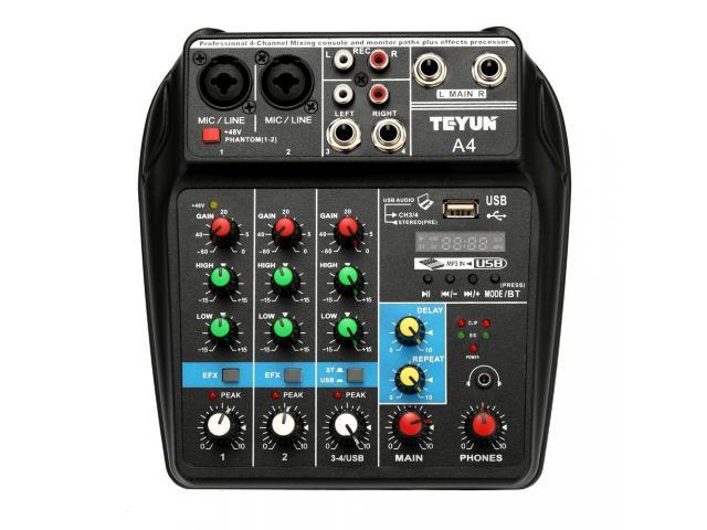 Mesa de Som Bluetooth Interface de Áudio 4 Canais Phantom Power 48v Karaokê  Efeitos - 1/6