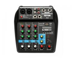 Mesa de Som Bluetooth Interface de Áudio 4 Canais Phantom Power 48v Karaokê  Efeitos