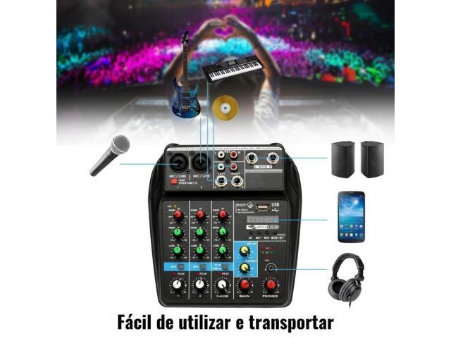 Mesa de Som Bluetooth Interface de Áudio 4 Canais Phantom Power 48v Karaokê  Efeitos - 5/6