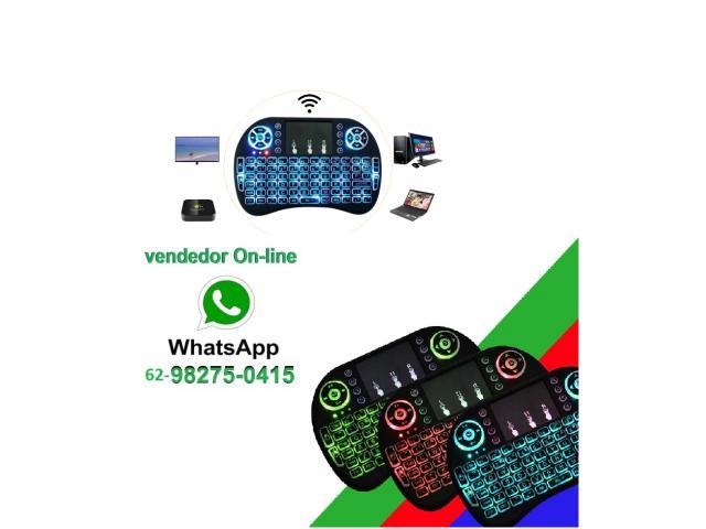 Mini Teclado Wireless Touchpad Sem Fio com Teclado Iluminado para Televisão TV Box etc - 1/4