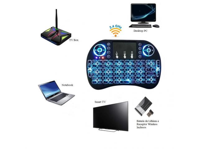 Mini Teclado Wireless Touchpad Sem Fio com Teclado Iluminado para Televisão TV Box etc - 4/4