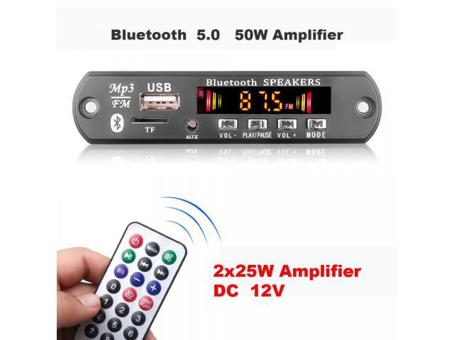 Placa Bluetooth Decodificador Amplificada 50W 2x25w Pendrive Mp3 Bluetooth 5.0/USB s/ Fio - 5/6