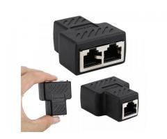 Conector de Rede Hub Divisor Switch 2x1  Adaptador de Plugue Ethernet Cabo De Rede